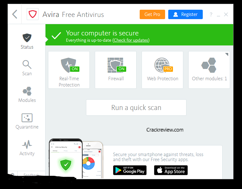 Avira Antivirus Pro 15.0.45 Crack + Registration Key Free Download