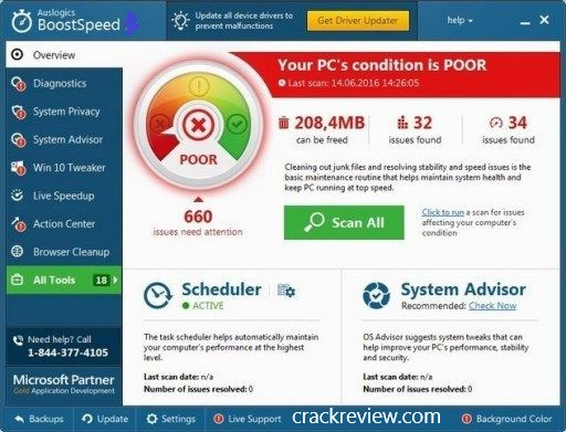 Auslogics BoostSpeed Premium 11.0 Crack + License Key 2019